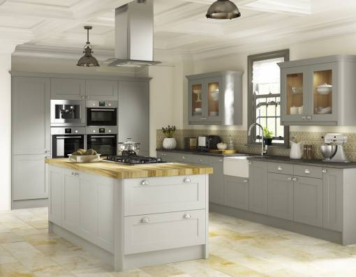 Country shaker oak castle grey 24 finishes mykitchens for 200mm kitchen wall unit